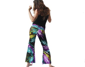 ON SALE - Purple and Turquoise Paintbrush Dance Pants - Upcycled, Eco Fashion, Bellbottoms