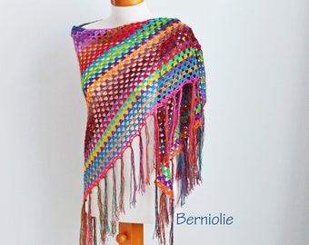 Bohemian crochet shawl with fringe, N362