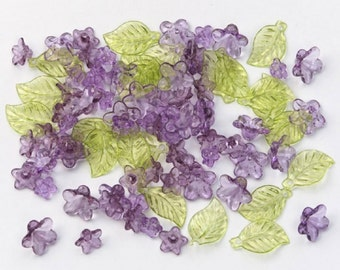 Acrylic Purple Flowers with Green Leaf Beads - 192 pieces Jewelry Craft 1993-61 fnt