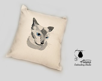 For cat lovers. A pillow with a cat. Embroidered cat face. Cat portrait. Siamese cat