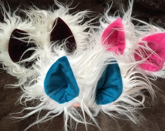 White Faux Fur Clip On Costume Ears