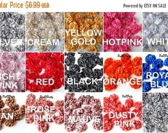 "25% OFF SALE MINI 1.5"" Satin Single Ruffle flowers - Set of 10- Choose Colors"