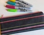 Slim pouch/pencil case in black denim with stripes