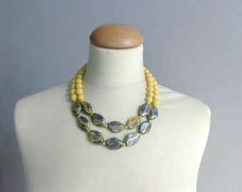 Yellow black statement necklace double strand
