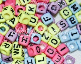 200 Pastel Rainbow Neon 6mm alphabet letter pony beads For Rave Kandi 100+ Kids pink blue green purple  mixed colorful