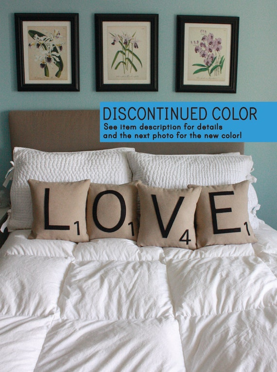 LOVE Scrabble Pillows - Inserts Included // Scrabble Tile Pillows // Letter Pillow Cushions