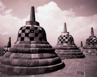 Borobudur I - 5x7 print in 8x10 mat, borobudur photography, indonesia photography, bhuddism, ancient temple photo, buddhist wall art, zen
