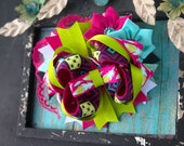 Feather green pink turquoise aztec boho  bow infant toddler girls