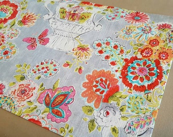 Grey Floral Valance - Kitchen, Bedroom Curtains - Blissful Bouquet Sherbert Fabric