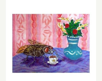 ON SALE House Fly at the Coffee Shop Insect Art Print