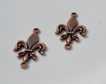 Antique Copper Fleur de Lis Connectors  2