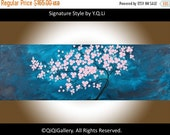 """Art painting, Original Abstract Wall Art Acrylic wall decor purple flowers tree Canvas art wall hangings """"Gentle Breeze"""" by qiqigallery"""