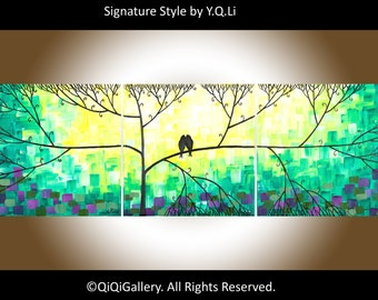 """Sale - Coloful painting love birds painting green purple yellow blue violet black white wall art """"Love And Romance"""" by qiqigallery"""
