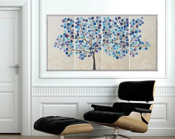 Painting blue painting Original artwork Large abstract wall art wall decor wall hanging canvas art shabby chic home decor flying snow