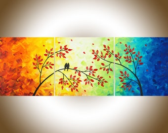 "Colourful painting Abstract Rainbow colour red yellow orange green blue purple birds art canvas art ""Centre of My Heart II"" by qiqigallery"
