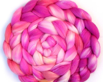 Silk and Polwarth Roving (40/60) Handdyed - Bride's Bouquet, 5.1 oz.