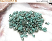 50% Off Sale 15 grams Super Duo Green Turquoise Celsian Czech Glass 2 Hole (New Smooth Style) 2.5x5mm Beads (6313CE) SD 079