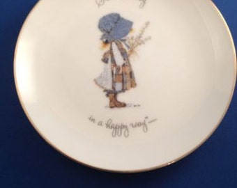 "Vintage 1973 Holly Hobbie Plate - 6.25"" Japan / Start Each Day in a Happy Way"