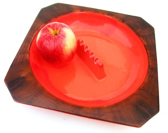Large Vintage Mid Century Ashtray Ceramic Red Orange Faux Wood Square Colorful Home Decor Marked Collectible