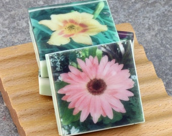 In the Floral Garden Series - Set III Graphic Art Soap - Set of 3 Guest Size Square Soaps
