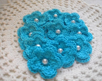 Crochet Double Layered Flowers set of 10 in GLACIER ICE