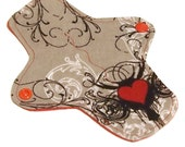 """Reusable Cloth winged ULTRATHIN Pantyliner - 7 Inch in """"Tattoo Heart"""" - Cotton flannel top"""