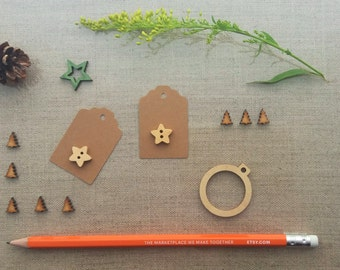 festive wooden star button kraft gift tags price hang tags