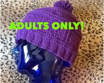 Adults Only! Handmade Beanie with CUSS Word Purple Acrylic Womens Cap