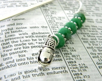Microphone Bookmark with Green Glass Beads Shepherd Hook Steel Bookmark Beaded Bookmark