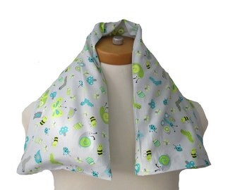 Microwavable Neck Wrap with Removable Cover Long Length Choice of Herbs-Butterflies and Bees