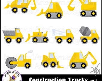 Construction Trucks graphics set 1 YELLOW - with 11 PNG files dump truck, cement mixer, hard had, bulldozer excavator (Instant Download)