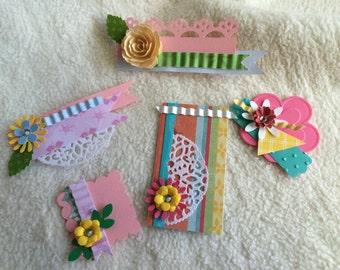 Scrapbook Embellishments...5 Piece Set of Very Sweet amd Sassy Clustered Handmade Card/Scrapbook Embellishments