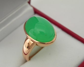 AAAA Green Chrysoprase 16x12mm 9.72 Carat in 14K Rose gold ring, also available in White gold 0708