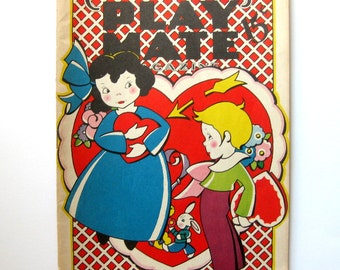 Vintage Valentine's Day Children's Play Mate Magazine, February 1944, Gorgeous Cover, Illustrated Throughout, Activities