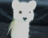 White Dog Needle Felted Finger Puppet