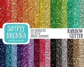 Rainbow Glitter Paper Pack, Colorful Glitter Digital Paper, Digital Paper, Glitter Paper, Personal & Commercial Use, INSTANT DOWNLOAD