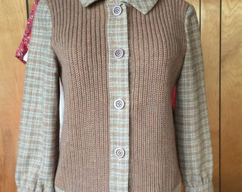 PENDLETON SWEATER JACKET, Vintage cardigan, wool, plaid, knit, classic sytle