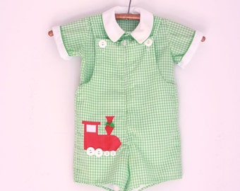 vintage boys jonjon holiday train green and red checked 2/3T Fischel