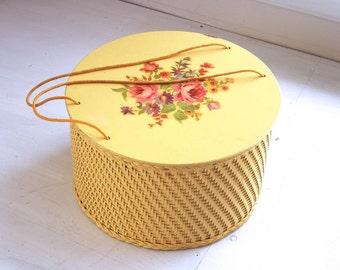Vintage Princess wicker sewing box yellow decopauged