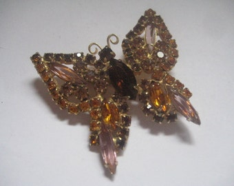 Juliana DeLizza and Elster Rhinestone Butterfly Pin Madeira Topaz Colorado Topaz and Topaz with Chatons in Topaz