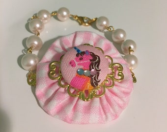 Princess Unicorn Pink Ruffle Beaded Pearl Bracelet