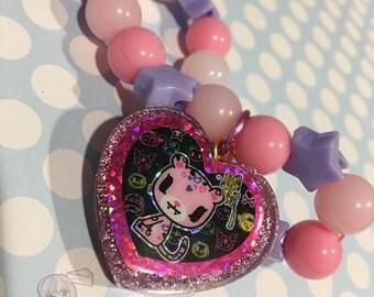 Tokidoki Safari Leopard Glitter Heart Charm Pastel Beads Bracelet