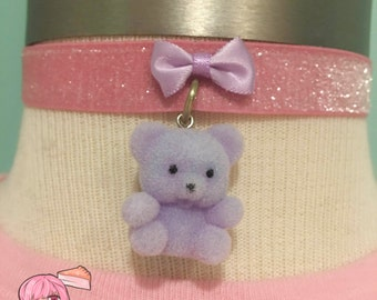 Flocked Purple Teddy Bear And Pink Ribbon Choker Necklace