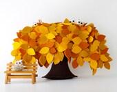 Yellow Weeping willow  Felt Tree Bench Decoration Children room Housewarming gift Nursery Decor