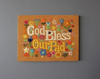 God Bless Our Pad Embroidery