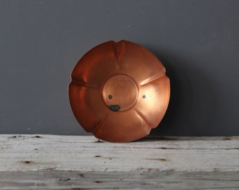 Large Solid Copper Flower Bowl - Great for a Coffee Table