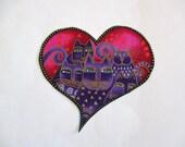 Purple Kitties Heart  Iron On Applique