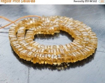 Clearance SALE Citrine Gemstone Heishi Yellow Solar Power Faceted 5.5mm 90 beads 1/2 strand