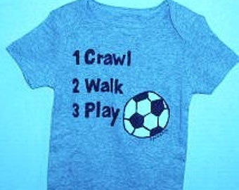 Soccer Baby Bodysuit, Baby Soccer One Piece, Crawl Walk Play Soccer, Sports Baby Bodysuit