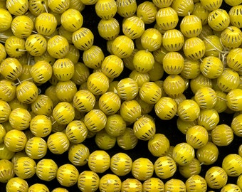 Vintage Yellow & Gold Beads 10mm Glass with Embossed Lines